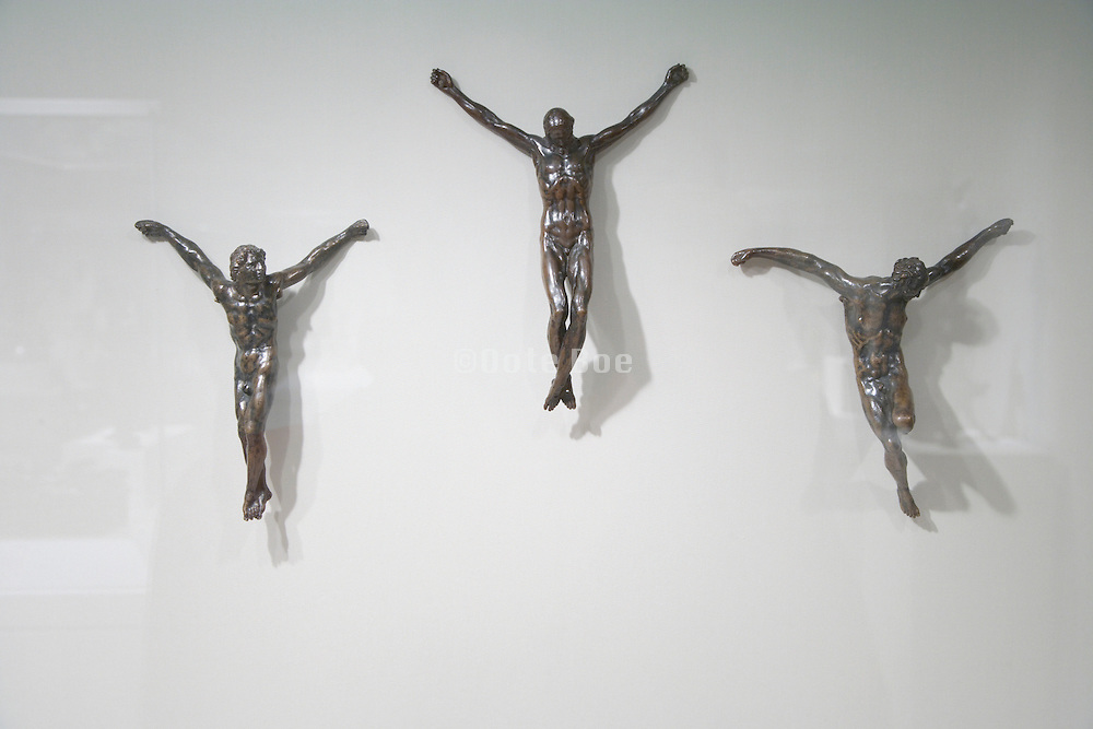 crucified Jesus and the two thieves without the crosses