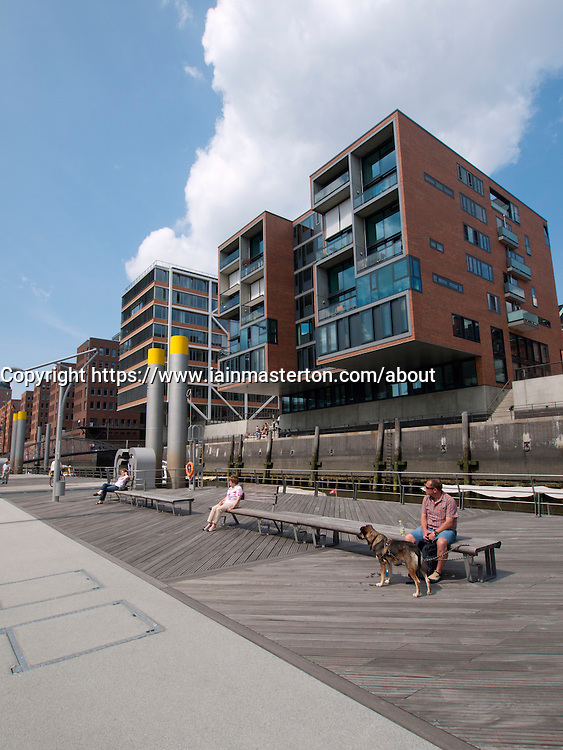 Modern apartment buildings constructed Sandtorhafen in new Hafencity property development in Hamburg Germany