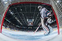 KELOWNA, CANADA - MARCH 5: Michael Herringer #30 of Kelowna Rockets stands in net against the Kamloops Blazers on March 5, 2016 at Prospera Place in Kelowna, British Columbia, Canada.  (Photo by Marissa Baecker/Shoot the Breeze)  *** Local Caption *** Michael Herringer;