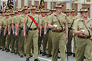 Australian Army soldiers marching on 2014 ANZAC day parade in Hobart Tasmania.