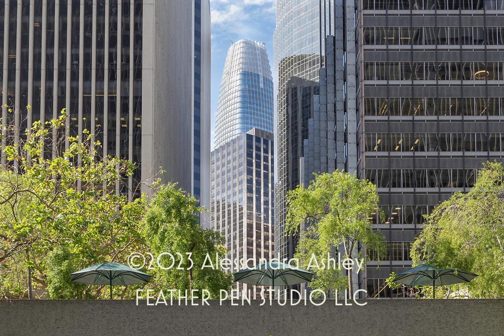 Urban street scene with skyscrapers, San Francisco.