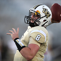 ORLANDO, FL - OCTOBER 09:  Quarterback Tyler Harris #8 of the UCF Knights is seen in warmups at Bright House Networks Stadium on October 9, 2014 in Orlando, Florida. (Photo by Alex Menendez/Getty Images) *** Local Caption *** Tyler Harris