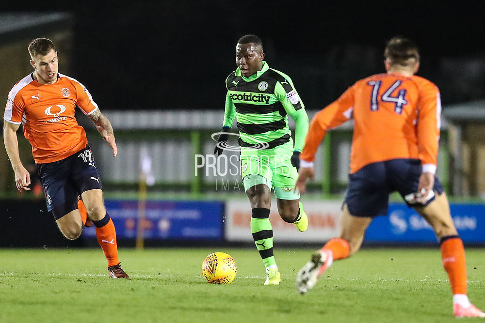 Forest Green Rovers Drissa Traoré(4) runs forward during the EFL Sky Bet League 2 match between Forest Green Rovers and Luton Town at the New Lawn, Forest Green, United Kingdom on 16 December 2017. Photo by Shane Healey.
