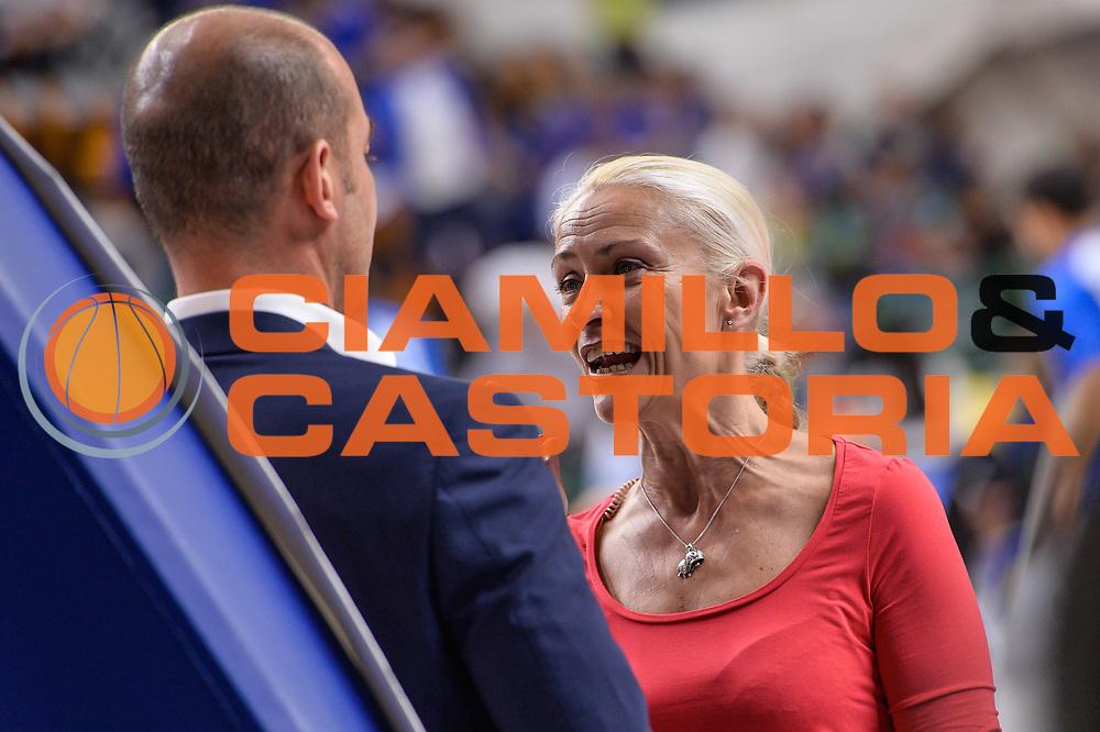 Paola Ellisse, Giacomo Baioni<br /> Banco di Sardegna Dinamo Sassari - Dolomiti Energia Aquila Basket Trento<br /> Legabasket Serie A LBA Poste Mobile 2016/2017<br /> Playoff Quarti Gara3<br /> Sassari 16/05/2017<br /> Foto Ciamillo-Castoria
