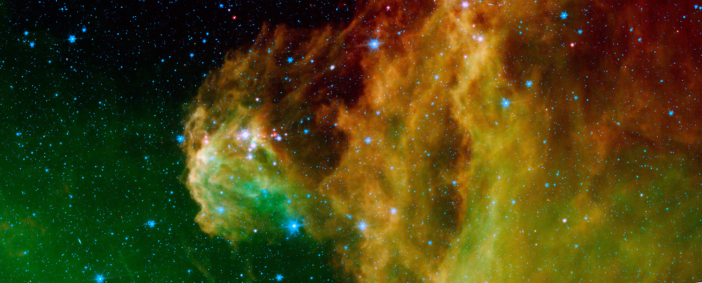 image from NASA's Spitzer Space Telescope shows infant stars 'hatching' in the head of the hunter constellation, Orion. Astronomers suspect that shockwaves from a supernova explosion in Orion's head, nearly three million years ago, may have initiated this newfound birth. The region featured in this Spitzer image is called Barnard 30. It is located approximately 1,300 light-years away and sits on the right side of Orion's 'head,' just north of the massive star Lambda Orionis. Wisps of green in the cloud are organic molecules called polycyclic aromatic hydrocarbons. These molecules are formed anytime carbon-based materials are burned incompletely. On Earth, they can be found in the sooty exhaust from automobile and airplane engines. They also coat the grills where charcoal-broiled meats are cooked.  Tints of orange-red in the cloud are dust particles warmed by the newly forming stars. The reddish-pink dots at the top of the cloud are very young stars embedded in a cocoon of cosmic gas and dust. Blue spots throughout the image are background Milky Way along this line of sight.
