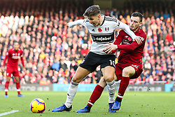 Tom Cairney of Fulham takes on Andrew Robertson of Liverpool - Mandatory by-line: Robbie Stephenson/JMP - 11/11/2018 - FOOTBALL - Anfield - Liverpool, England - Liverpool v Fulham - Premier League