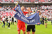 Fulham goalkeeper Marcus Bettinelli (1) and Fulham midfielder Kevin McDonald (6) celebrate during the EFL Sky Bet Championship play-off final match between Fulham and Aston Villa at Wembley Stadium, London, England on 26 May 2018. Picture by Jon Hobley.