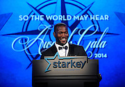 "Seattle Seahawks' Derrick Coleman speaks at the Starkey Hearing Foundation's ""So the World May Hear"" Awards Gala on Sunday, July 20, 2014 in St. Paul, Minn. The foundation gives away more than 100,000 hearing aids in the U.S. and around the world annually. (Photo by Diane Bondareff/Invision for Starkey Hearing Foundation/AP Images)"