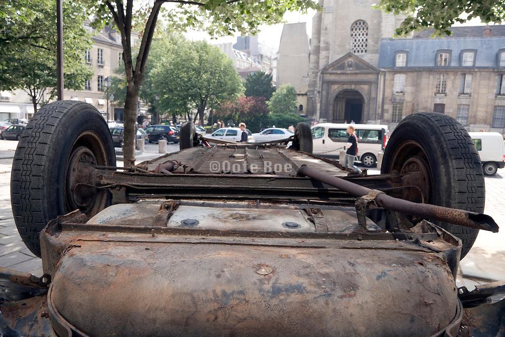 old car upside down Paris St Germain des Pres