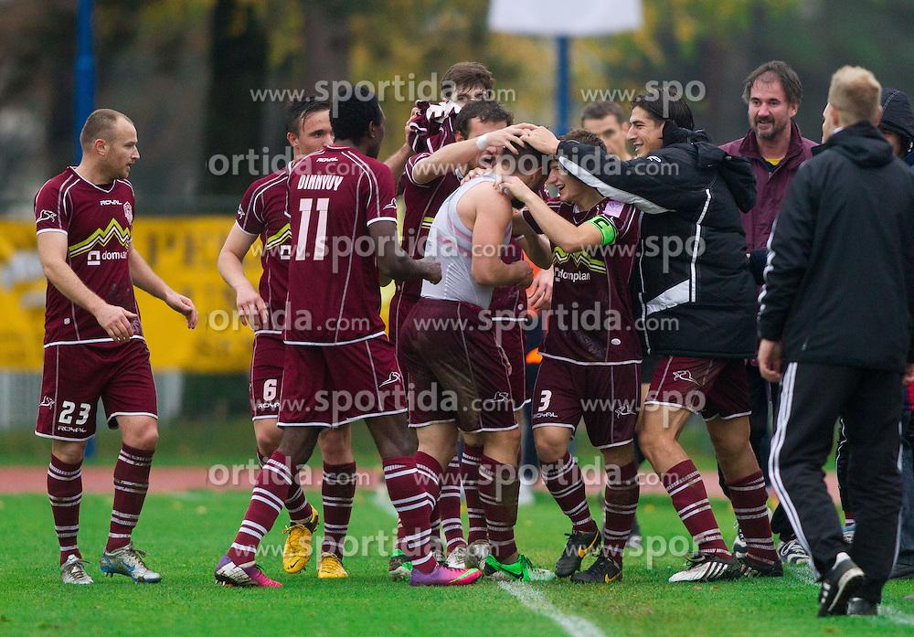 Players of Triglav celebrate during football match between ND Triglav and NK Celje in 17th Round of Prva liga Telekom Slovenije 2013/14 on November 10, 2013 in Kranj, Slovenia. Photo by Vid Ponikvar / Sportida