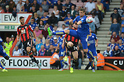 defensive play from Leicester City's Robert Huth during the Barclays Premier League match between Bournemouth and Leicester City at the Goldsands Stadium, Bournemouth, England on 29 August 2015. Photo by Mark Davies.