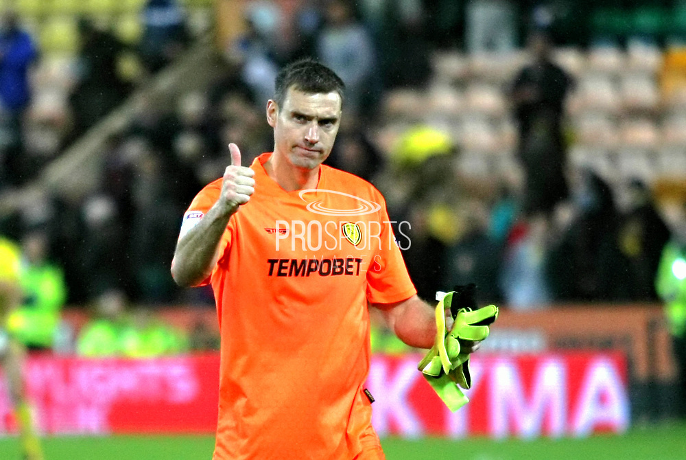 Burton Albion's Stephen Bywater acknowledges the Brewers fans during the EFL Sky Bet Championship match between Norwich City and Burton Albion at Carrow Road, Norwich, England on 12 September 2017. Photo by John Potts.