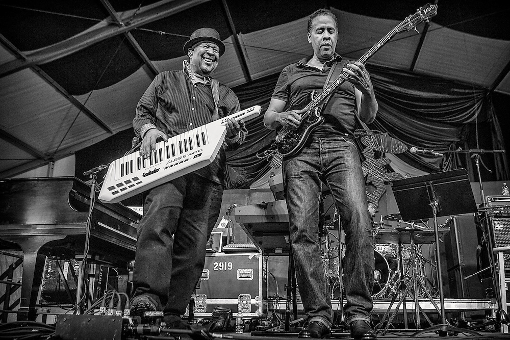 Keyboardist George Duke and bassist Stanley Clarke perform on the WWOZ Jazz Tent Stage during the 2013 New Orleans Jazz & Heritage Music Festival at Fair Grounds Race Course on May 4 2013 in New Orleans, Louisiana. USA.