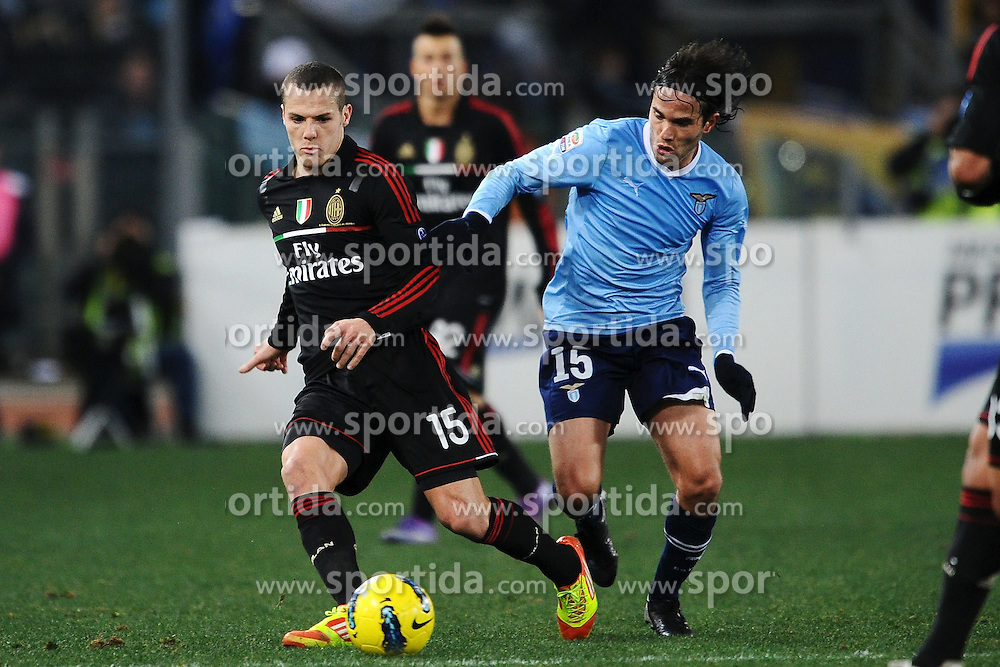 01.02.2012, Olympiastadion, Rom, ITA, Serie A, Lazio Rom vs AC Milan, 21. Spieltag, im Bild Djamel Mesbah Milan, Alvaro Gonzalez Lazio, // during the football match of Italian 'Serie A' league, 21th round, between Lazio Rom and AC Milan at Olympic Stadium, Rome, Italy on 2012/02/01. EXPA Pictures © 2012, PhotoCredit: EXPA/ Insidefoto/ Andrea Staccioli..***** ATTENTION - for AUT, SLO, CRO, SRB, SUI and SWE only *****