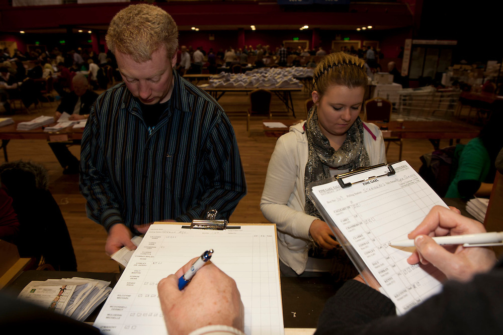 Castlebar Count Centre, tallying the vote at the royal theatre castlebar, Co.Mayo..Pic: Michael Mc Laughlin