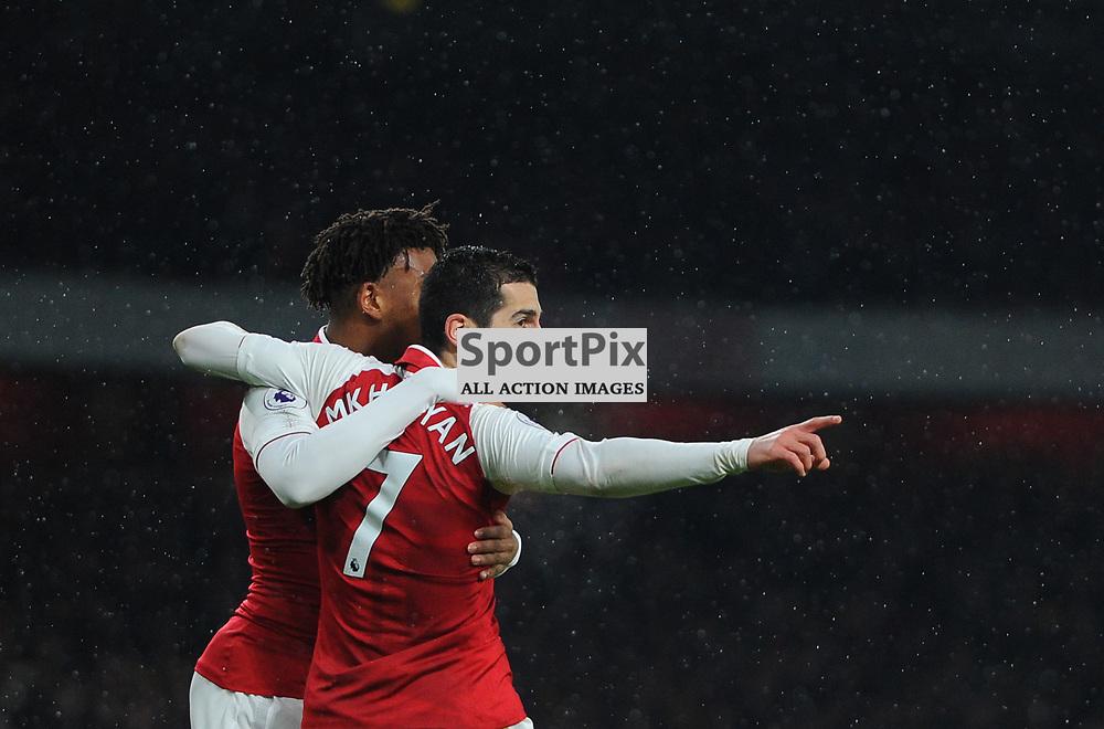 Henrikh Mkhitaryan of Arsenal celebrates after assisting his sides first goal during Arsenal vs Everton, Premier League, 03.02.18 (c) Harriet Lander | SportPix.org.uk