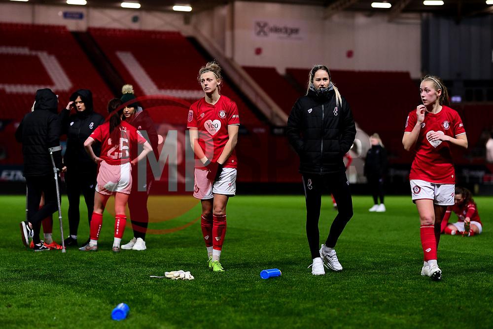 Yana Daniels of Bristol City, Georgia Wilson and Flo Allen of Bristol City - Mandatory by-line: Ryan Hiscott/JMP - 17/02/2020 - FOOTBALL - Ashton Gate Stadium - Bristol, England - Bristol City Women v Everton Women - Women's FA Cup fifth round