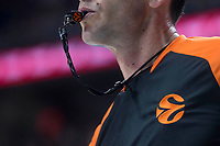 Referee using the whistle during Turkish Airlines Euroleague match between Real Madrid and Valencia Basket at Wizink Center in Madrid, Spain. December 19, 2017. (ALTERPHOTOS/Borja B.Hojas)