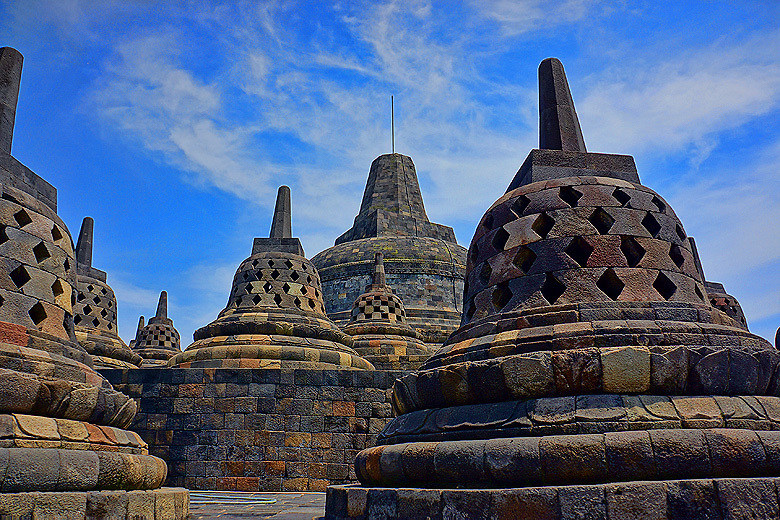 At the top of Borobudur Temple in Yogyakarta