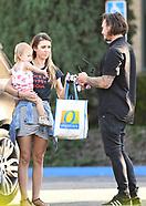 Corey Bohan hands over baby Kira to Audrina Patridge at the police station - 25 Sep 2017
