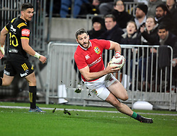 """Tommy Seymour of the Lions runs into score against the Hurricanes in the International rugby match between the the Super Rugby Hurricanes and British and Irish Lions at Westpac Stadium, Wellington, New Zealand, Tuesday, June 27, 2017. Credit:SNPA / Ross Setford  **NO ARCHIVING"""""""