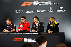 March 15, 2019 - Melbourne, Australia - Motorsports: FIA Formula One World Championship 2019, Grand Prix of Australia, ..Christian Horner (GBR, Aston Martin Red Bull Racing), Mattia Binotto (ITA, Scuderia Ferrari Mission Winnow), Toto Wolff (AUT, Mercedes AMG Petronas Motorsport), Cyril Abiteboul (FRA, Renault F1 Team) (Credit Image: © Hoch Zwei via ZUMA Wire)