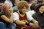 March 23, 2010; Cleveland, OH, USA; Cleveland Browns defensive back Joe Haden sports a Cleveland Cavaliers power forward Anderson Varejao (17) (not shown) wig during the first quarter against the New Jersey Nets at Quicken Loans Arena. Mandatory Credit: Jason Miller-US PRESSWIRE