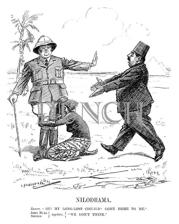 "Nilodrama. Egypt. ""Ah! My long-lost che-ild! Come home to me."" John Bull, Soudan} together.{ ""We don't think."" (cartoon showing Ethopia clinging onto John Bull for protection against an approaching Egypt during the InterWar era)"