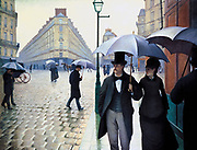 La Place de l'Europe, temps de pluie' (Paris Street, Rainy Day), 1877. Oil on canvas. Gustave Caillebotte (1848-1984) French painter.   Impressionism Realist School City Street Road Pavement Pedestrian Male Female Umbrella