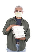 Food Delivery Man Wearing A Protective Mask Carrying Take-Out Food