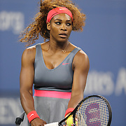 Serena Williams, USA, in action against Carla Suarez Navarro, Spain, during the Women's Singles competition at the US Open. Flushing. New York, USA. 2nd September 2013. Photo Tim Clayton