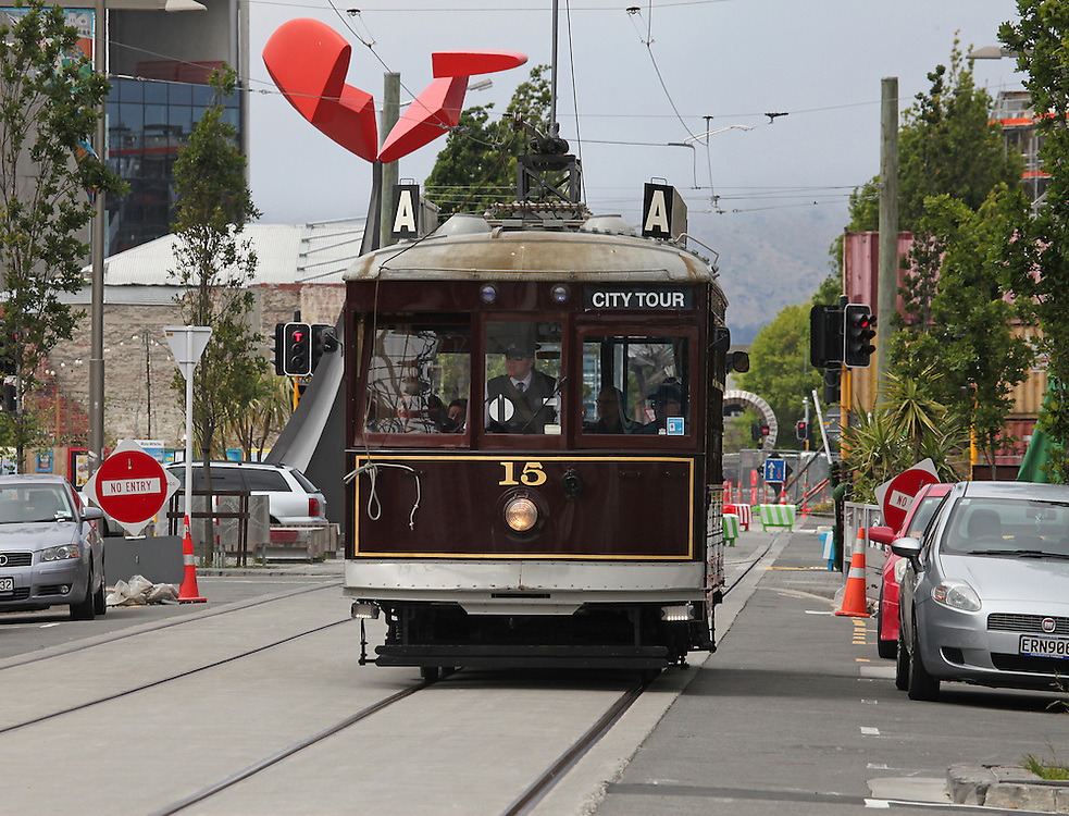 Tram on High Street,  Christchurch, New Zealand, Tuesday, 10 November, 2015.  Credit: SNPA / Pam Carmichael