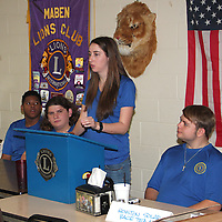 (Floyd Ingram / Buy at photos.chickasawjournal.com)<br /> Houston Solar Car captain Allyson Taylor, standing, speaks to the Maben Lions Club last week about the team and their October trip to Australia. Show at the head table with Taylor are Malik Lawrence, from left, Jackson Whitt and Greg Hollingsworth.