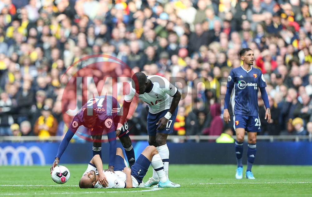 Lucas of Tottenham Hotspur suffers a knock - Mandatory by-line: Arron Gent/JMP - 19/10/2019 - FOOTBALL - Tottenham Hotspur Stadium - London, England - Tottenham Hotspur v Watford - Premier League