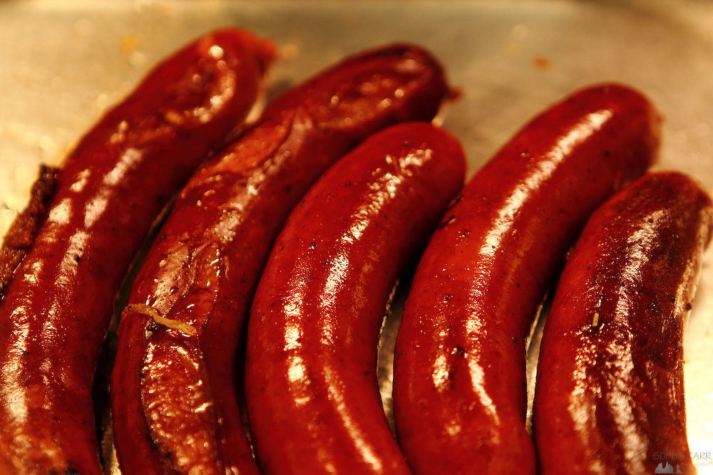 No trip to Munich is complete without some wurst, or sausage; this is bierwurst, sizzling in a pan.