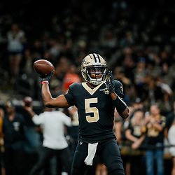 Sep 16, 2018; New Orleans, LA, USA; New Orleans Saints quarterback Teddy Bridgewater (5) before a game against the Cleveland Browns at the Mercedes-Benz Superdome. Mandatory Credit: Derick E. Hingle-USA TODAY Sports