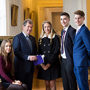 20.11.2016           <br /> Winners of the 2016 All Ireland Scholarships were commended by Rugby Legend, Paul O'Connell at an awards ceremony at the University of Limerick. <br />  Sponsored by JP McManus, the educational scheme is set to provide financial assistance to many high achieving students who completed their Leaving Certificat/A Level examinations in 2016. <br /> <br /> Attending the awards ceremony were, scholarship recipients, Chloe Carrick, Ballinasloe Co. Galway, Eimear McErlane, The Loup Co. Derry, James McDonnell, Middleton Co. Cork and Conor Gaffney, Wexford Town with JP McManus (2nd from left). Picture: Alan Place