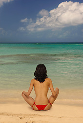 Back of a  beautiful, young woman doing yoga on a tropical beach, facing the ocean