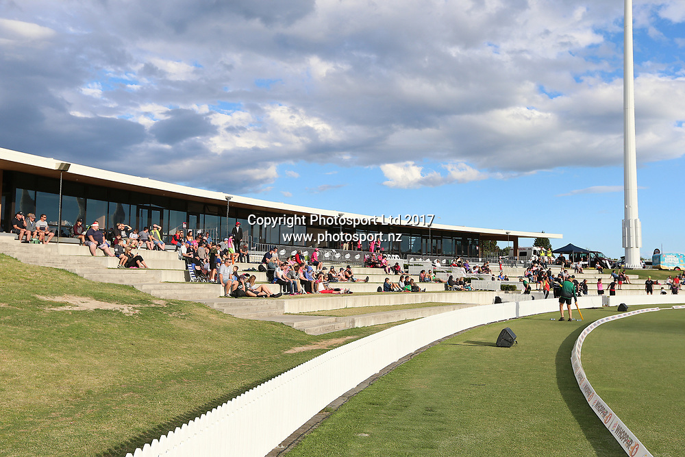 General view of the pavilion at Bay Oval during the Burger King Super Smash Twenty20 cricket match Knights v Stags played at Bay Oval, Mount Maunganui, New Zealand on Wednesday 27 December 2017.<br /> <br /> Copyright photo: © Bruce Lim / www.photosport.nz