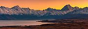 Dawn panorama, Mount Sefton ( left) to Aoraki / Mount Cook and Mount Tasman from above Lake Pukaki, Mackenzie country, Canterbury