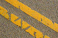Close-up of traffic lines on a road in Boulder, Colorado
