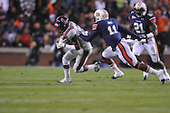 Ole Miss' Nickolas Brassell(2) is tackled by Auburn cornerback Chris Davis (11) at Jordan-Hare Stadium in Auburn, Ala. on Saturday, October 29, 2011. .