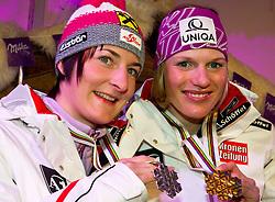 19.02.2011, Tirol Berg, Garmisch Partenkirchen, GER, FIS Alpin Ski WM 2011, GAP, Milka Night, im Bild silber Medaille Kathrin Zettel (AUT), Gold Medaille und Weltmeister Marlies Schild (AUT) // silver medal Kathrin Zettel (AUT), Gold Medal and World Champion Marlies Schild (AUT) during Milka Night Fis Alpine Ski World Championships in Garmisch Partenkirchen, Germany on 19/2/2011. EXPA Pictures © 2011, PhotoCredit: EXPA/ J. Groder