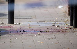 © Licensed to London News Pictures. 12/07/2020. London, UK. A pool of blood on the floor at the Black Prince Estate in Kennington South London, just a few hundred years from the House of Parliament, where a man, believed to be in his 30s, was stabbed to death late last night . Photo credit: Ben Cawthra/LNP