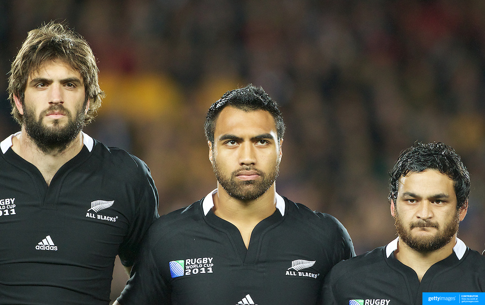 Sam Whitelock, (left), Victor Vito, (centre) and Piri Weepu, (right), New Zealand, during the national anthems before the New Zealand V Australia Semi Final match at the IRB Rugby World Cup tournament, Eden Park, Auckland, New Zealand, 16th October 2011. Photo Tim Clayton...
