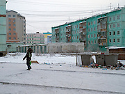 Panel houses in Yakutsk which is a city in the Russian Far East, located about 4° (450 kilometres) below the Arctic Circle. It is the capital of the Sakha (Yakutia) Republic (formerly the Jakut Autonomous Soviet Socialist Republic), Russia and a major port on the Lena River. Yakutsk is one of the coldest cities on earth, with January temperatures averaging 40.9 °C (41.6 °F).