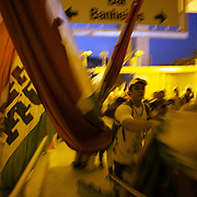 Fluminense flag bearers enter the stadium before the Fluminense V Sao Paulo, Futebol Brasileirao  League match at the Jornalista Mário Filho Stadium, Rio de Janeiro,  Brazil. 29th August 2010. Photo Tim Clayton.