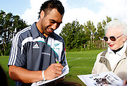 The New Zealand All blacks training session at Yarrow Stadium, New Plymouth, Auckland. Monday 7th June 2010. Victor Vito signing autographs. Photo: Mike Scott/PHOTOSPORT