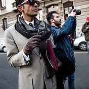 Arrivee au defile de Prada, a la semaine de la mode de Milan