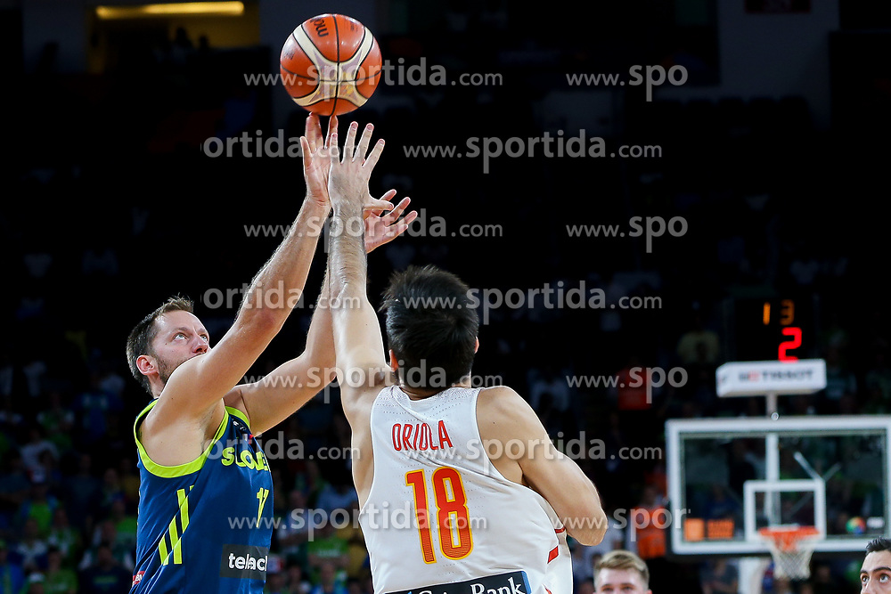 Sasa Zagorac of Slovenia vs Pierre Oriola of Spain during basketball match between National Teams of Slovenia and Spain at Day 15 in Semifinal of the FIBA EuroBasket 2017 at Sinan Erdem Dome in Istanbul, Turkey on September 14, 2017. Photo by Vid Ponikvar / Sportida